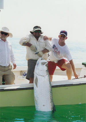 Rudy's first tarpon is a giant