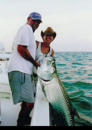 Heather catches a Hill Tide Tarpon