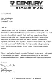 Testimonial Letter from Century Boats